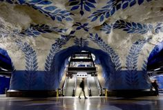 Stockholm Metro Subway cut into rock. Each picture is awe inspiring.