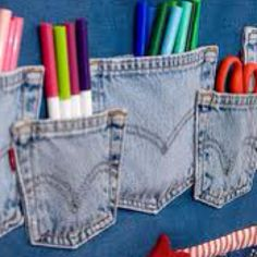 Pen storage made from recycled old jeans