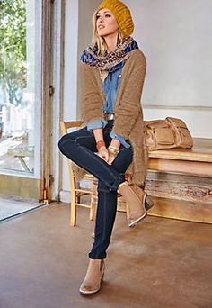 Tamaris Cardigan, extra lang, lässig offen  »trendiges Effektgarn« im Universal Online Shop