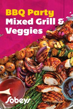 Barbecue Party Mixed Grill & Veggies - Sobeys Inc. Party Mix, Bbq Party, Veggie Recipes, Cooking Recipes, Mixed Grill, Grilled Vegetables, Light Recipes, How To Cook Chicken, Tandoori Chicken