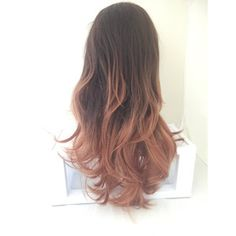 On Warm Brown Ombre Long Curly Layered Wig With Natural Scalp Piece Ombre