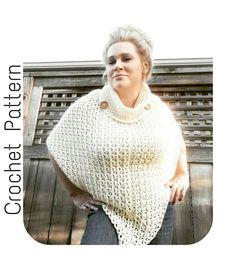 Crochet PATTERN Cowl Neck Poncho Women's by SerendipityasAlways