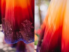 Colorful wedding at Pine Rose Cabins in Lake Arrowhead Party Wear Dresses, Day Dresses, Ombre Wedding Dress, Wedding Dresses, Wedding Colors, Wedding Styles, Bohemian Wedding Invitations, Purple Fire, Dream Wedding