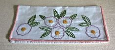 HAND MADE / EMBROIDERED VINTAGE BRETON FRENCH LINEN NAPKIN / CUTLERY HOLDER