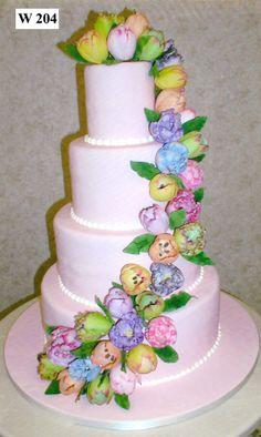 Tulip Wedding Cake ~ all edible Extravagant Wedding Cakes, Cool Wedding Cakes, Beautiful Wedding Cakes, Gorgeous Cakes, Wedding Cake Designs, Pretty Cakes, Amazing Cakes, Tulip Cake, Delish Cakes
