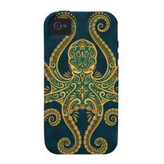 Intricate Golden Blue Octopus iPhone 4/4S Cover: Jeff Bartels
