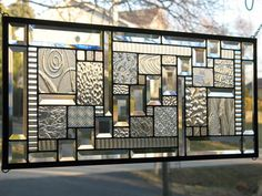 Clear Sampler Stained Glass Window Panel by loveofstainedglass, $130.00
