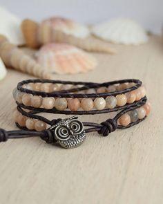 Owl button bracelet. Sunstone bead jewelry. Bohemian nerd double wrap bracelet on Etsy, $50.88