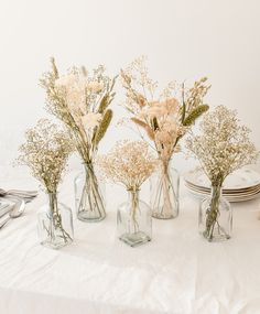 Small Vases With Flowers, Rustic Flowers, Table Flowers, Flower Vases, Dried Flowers, Dried Flower Arrangements, Vase Arrangements, Wedding Table Decorations, Wedding Centerpieces