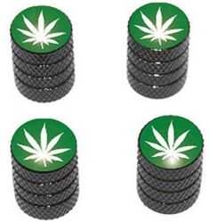 """Amazon.com : (4 Count) Cool and Custom """"Diamond Etching Marijuana Leaf Top with Easy Grip Texture"""" Tire Wheel Rim Air Valve Stem Dust Cap Seal Made of Genuine Anodized Aluminum Metal {Mysterious VW Black and Green Colors - Hard Metal Internal Threads for Easy Application - Rust Proof - Fits For Most Cars, Trucks, SUV, RV, ATV, UTV, Motorcycle, Bicycles} : Sports & Outdoors"""