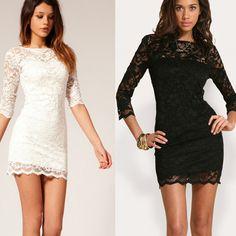 Women's Black White Lace Sexy V Neck Slim 3 4 Sleeve Cocktail Party Dresses | eBay