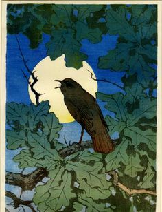 Bird singing on a branch among leaves silhouetted against the moon: final finished composition  Colour woodcut