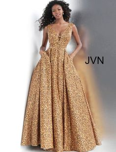 JVN Prom by Jovani 2020 Prom Dresses, Pageant, Homecoming and Formal Dresses Animal Print Plunging Neckline Prom Ballgown with Pockets African Fashion Ankara, Latest African Fashion Dresses, African Print Fashion, Africa Fashion, African Style Clothing, Modern African Fashion, Trendy Clothing, Trendy Outfits, African Dresses For Women