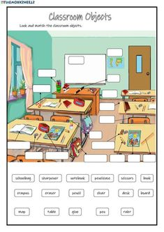30 Classroom Worksheets Classroom Objects online worksheet The children can enjoy Number Worksheets, Math Worksheets, Alphabet Worksheets, . English Lessons For Kids, English Worksheets For Kids, Kids English, English Activities, School Worksheets, Learn English, Esl Worksheets For Beginners, Teaching Activities, English Classroom
