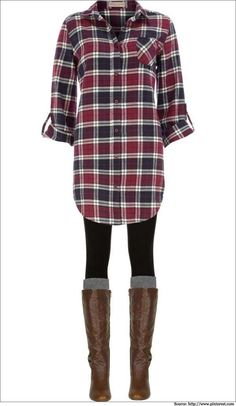 Long plaid boyfriend shirt, leggings, knee socks and boots. Long plaid boyfriend shirt, leggings, knee socks and boots. Mode Outfits, Casual Outfits, Fashion Outfits, Long Shirt Outfits, Fashion Ideas, Plaid Outfits, Fashion Images, Fashion Trends, Looks Style