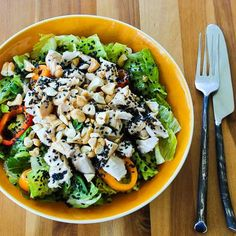 Recipe for Leftover Chicken Asian Chopped Salad from Kalyns Kitchen [Phase One #SouthBeachDiet #Recipe from Kalyn's Kitchen; visit the blog to see step-by-step photos for making this tasty salad!)