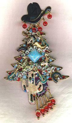 Cowboy Christmas Tree pin