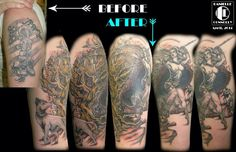 This is a 1/4 sleeve coverup which I used a combination of 3 Boris Vallejo & Julie Bell Illustrations. The tree is my own artwork. This piece is covering a very poorly done, Fallen soldiers memorial Tattoo.  Cover up tattoo , warrior girl tattoo, bow and arrow tattoo, fantasy art tattoo