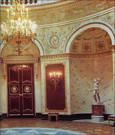 Italian Hall at Pavlovsk. Pavlovsk Palace & Park - Country Residence of the Russian Imperial Family. The wooden doors inlaid with coloured woods and decorated with ormolu are after a sketch executed by Giacomo Quarenghi.