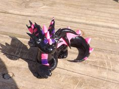 Pink Purple and Black Clay Dragon. by GentleCreatures on Etsy, $25.00