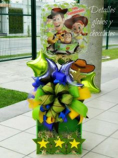 Agjt Woody Birthday Parties, Toy Story Birthday, Toy Story Party, Birthday Diy, Birthday Centerpieces, Balloon Centerpieces, Balloon Decorations, Balloon Flowers, Balloon Bouquet