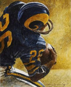 NFL football illustration by Merv Corning, gouache on board 7 x 9 inches Nfl Football Players, Football Art, Football Memes, Vintage Football, Sport Football, School Football, Nfl League, Nfl Rams, Professional Football