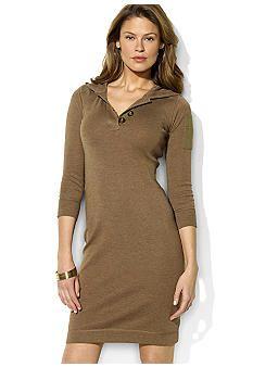 Ralph Lauren Jeans Co. Stretch Cotton Hooded Dress Long Hoodie #UNIQUE_WOMENS_FASHION