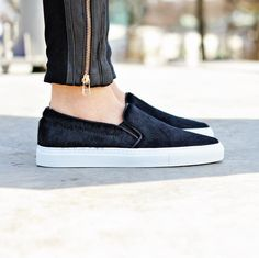 First taste of our women collection that is dropping soon. Slip-on sneaker made in black pony hair with black leather trim #axelarigato