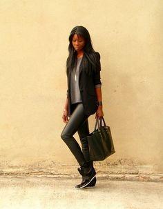 new ZARA Black Faux Leather Skinny Trousers Leggings size small uk 8 10 Black Faux Leather, Leather And Lace, Leather Skinny Trousers, Vetement Fashion, Wedge Sneakers, Weekend Outfit, Sweater Fashion, Women's Fashion, Zara Black