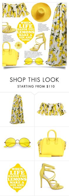 """""""Favorite hat yellow"""" by sally92 on Polyvore featuring moda, Dolce&Gabbana, Ray-Ban, Givenchy, PTM Images, Steve Madden, yellow, set, hat e summer2017"""