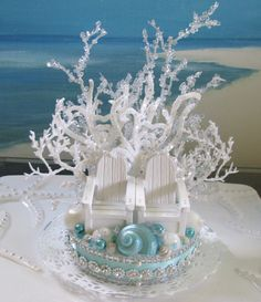 Adirondack Chairs Beach Wedding Cake Topper - Seashell Wedding Cake Topper