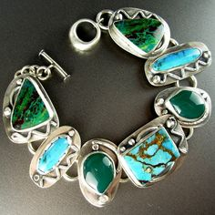 """Mojave turquoise, dyed green onyx, turquoise, rainforest jasper sterling silver link bracelet * Chelle' Rawlsky * toggle closure * ooak 7.5"""" by AnniPearls on Etsy"""