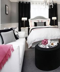 Great furniture ideas for small space - ie: NYC living - coblat in place of the pink and grey in place of the black