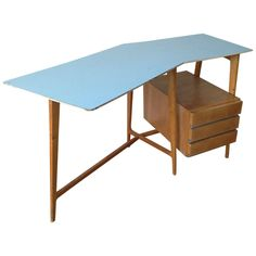 Small Curved Desk with Matching Chair Attributed to Gio Ponti | From a unique collection of antique and modern desks and writing tables at https://www.1stdibs.com/furniture/tables/desks-writing-tables/