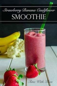 Strawberry Banana Cauliflower Smoothie ~ Recipe for a nutritional and tasty smoothie made with frozen strawberries, frozen banana and cooked cauliflower! The cauliflower adds a creamy smooth texture without compromising taste! / Time With Thea / http://timewiththea.com