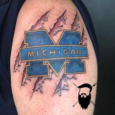 Thee Ol' maze and blue today! #broketattoos #viciousinktattoos #inked #tattoo #tattooed #michigan #michigantattooers #fusionink #cheyenneprofessionaltattooequipment #hexisneedles