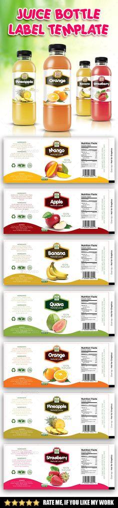 Juice Bottle Label Template PSD. Download here: http://graphicriver.net/item/juice-bottle-label-template/14664239?ref=ksioks