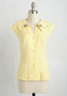 Hive and Go Seek Top - Yellow, Solid, Embroidery, Work, Woven, Better, Collared, Mid-length, Print with Animals, Cap Sleeves
