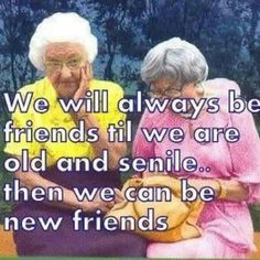 Old Friendships - Two old ladies laughing together, We will always be friends til we are old and senile. Then we can be new friends.
