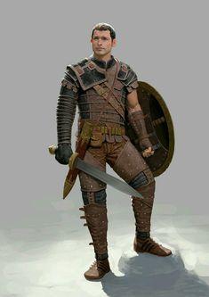 m Ranger lvl Med Armor Shield Shortsword Traveler ArtStation Monster Slayer No 02 by Un Lee Fantasy Male, Fantasy Armor, Medieval Fantasy, Dark Fantasy, Fantasy Character Design, Character Concept, Character Art, Dnd Characters, Fantasy Characters
