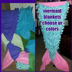 tied fleece mermaid tail blanket by MidwestSheller on Etsy choose your color combo, save $4 w/code 4offapril