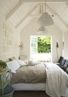 Beautiful white wood walls and ceilings. Has the feel of an old reclaimed barn.