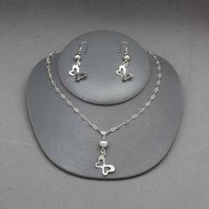Collar y aretes de mariposa de plata Joyería de moda, necklace in sterling silver, butterfly