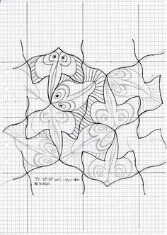MC Escher nr 59 #tessellation #tiling #wallpaper #geometry #symmetry #pattern #mathart #regolo54 #handmade #watercolor #aquarelle #escher