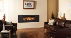 Gazco - Insert à gaz Studio 2 Steel 2 en graphite, devanture vitrée, évacuation par ventouse, lit de combustibles effet bois flotté et revêtement de foyer en vermiculite. #insert #gaz #gpl #gazco #vermiculite #contemporain #traditionnel #flammes #feu #décoration #cheminée #bois #flotté #graphite