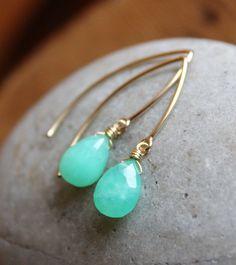 Gold Mint Green Chrysoprase Gemstone Earrings Mint by OhKuol