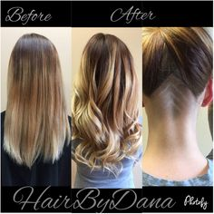 Dana created this awesome hairstyle for her client with a fun undercut and completing the ombré look with a full head of Fusion extensions!   Paul Hyland Salon & Day Spa
