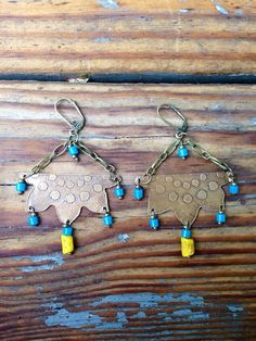 Etched Brass Lotus Boho Earrings with African by JupiterOak