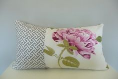 Pink and Gray Lumbar Pillow Cover 12x22 ,Patchwork Gray Geometric and Pink Flower Pillow, Accent Pillows