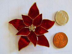e78ed6a48c9 $15 2017 Vintage Premier Designs Red Enamel Crystal Christmas Poinsettia  Brooch Pin | #1897622986 Christmas